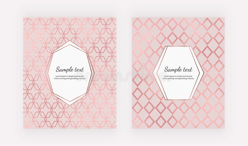 Couvertures géométriques élégantes avec la texture rose de feuille d'or Conception moderne de mode sur le fond rose Calibre pour  illustration libre de droits