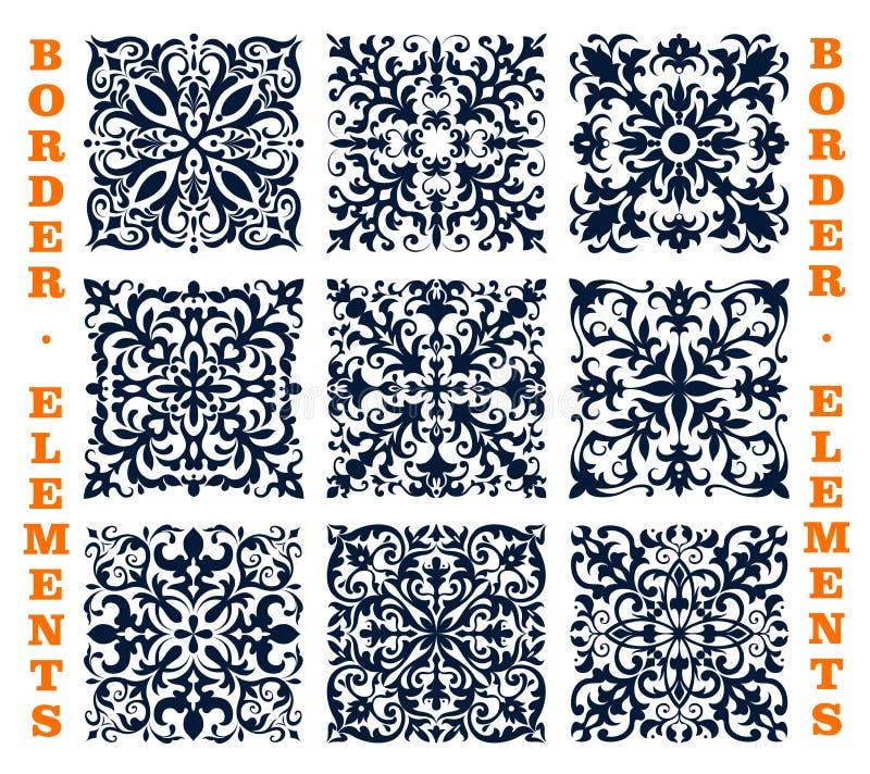 Couvre de tuiles des frontières d'ornement floral de vecteur de damassé illustration libre de droits