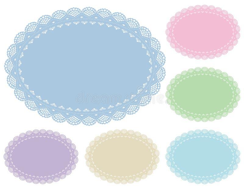 Couvre-tapis de place en pastel de napperon de lacet illustration de vecteur