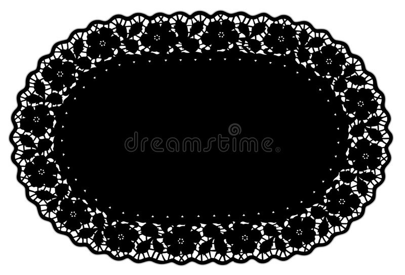 couvre-tapis de place noir ovale de napperon de lacet de +EPS, BG florale illustration libre de droits