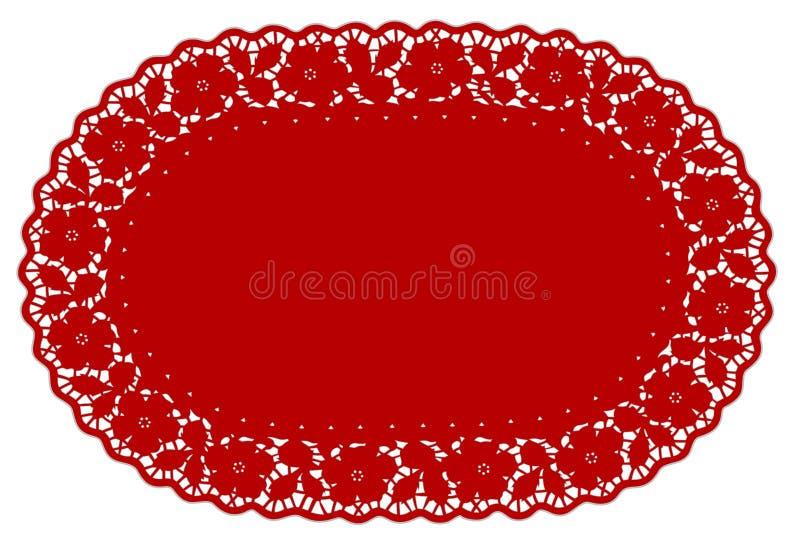 couvre-tapis de place rouge ovale de napperon de lacet de +EPS, BG florale illustration de vecteur