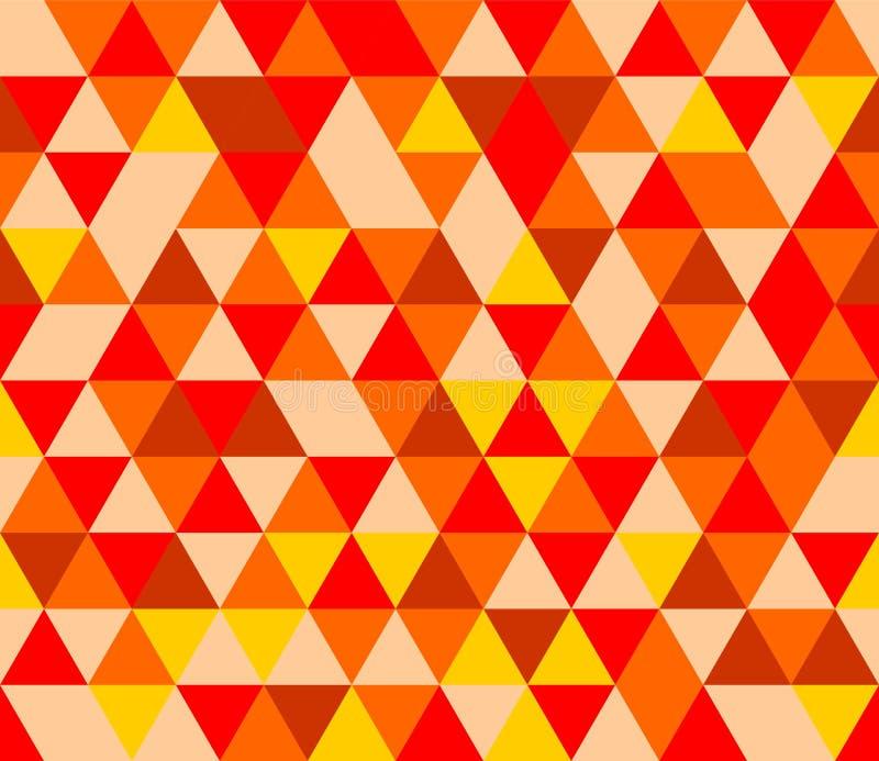 Couvrez de tuiles le fond de vecteur avec la triangle jaune, rouge et brune illustration libre de droits
