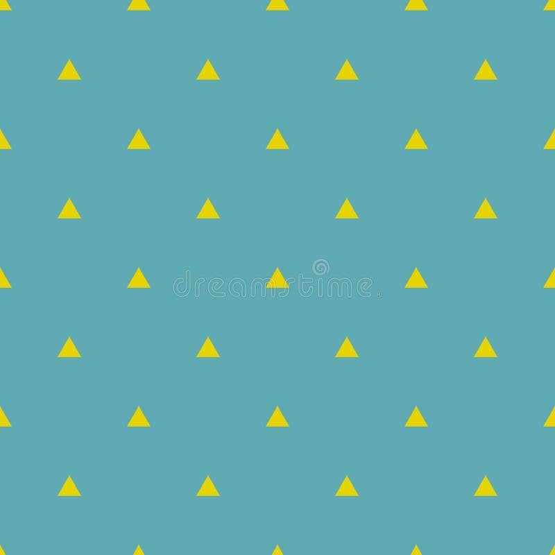 Couvrez de tuiles le modèle de vecteur avec les triangles jaunes sur le fond de vert de menthe de pastel illustration stock