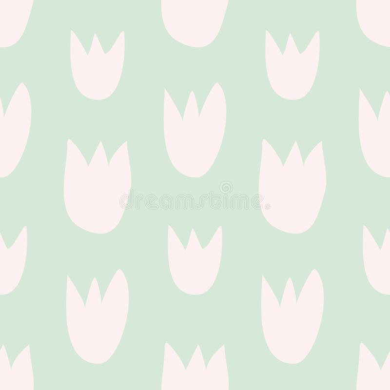 Couvrez de tuiles le modèle floral de vecteur avec les tulipes roses tirées par la main sur le fond vert illustration stock
