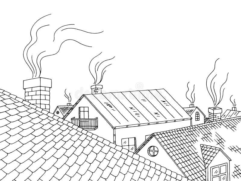 Couvrez l'illustration blanche noire graphique de croquis de paysage de ville illustration stock