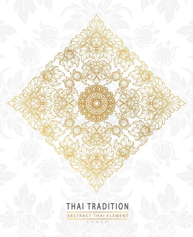 Couvrez l'or traditionnel d'élément thaïlandais d'art sur le fond blanc illustration stock