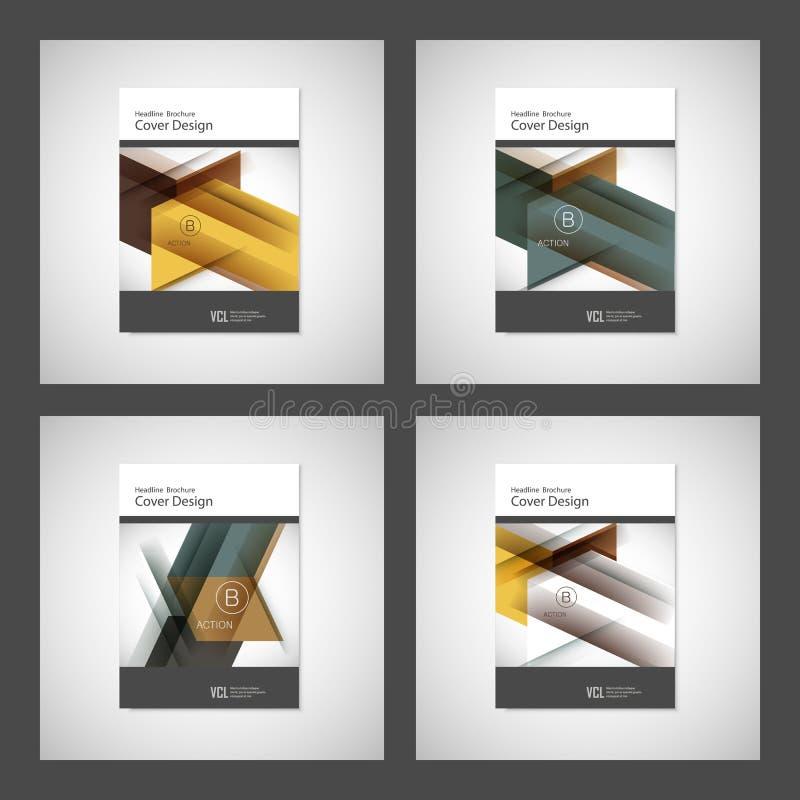 Couvrez la conception pour le rapport annuel, le catalogue ou la magazine, le livre ou la brochure Calibre de vecteur avec des él illustration libre de droits