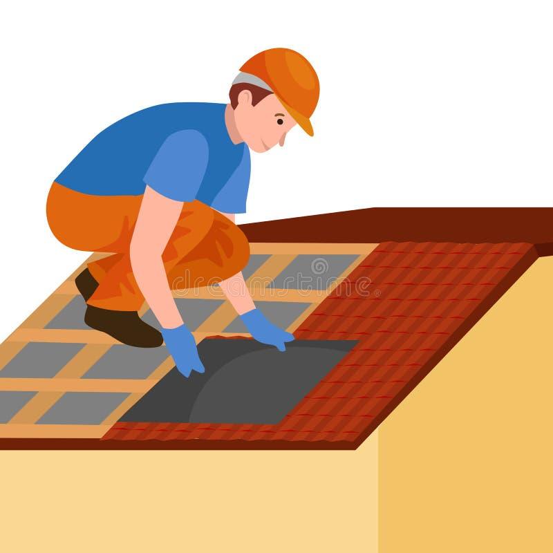 Couvrez la maison de réparation de travailleur de la construction, maison de tuile de dessus de toit de fixation de structure de  illustration libre de droits