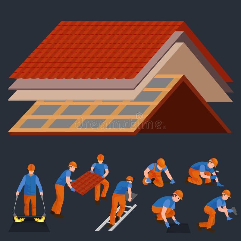 Couvrez la maison de réparation de travailleur de la construction, maison de tuile de dessus de toit de fixation de structure de  illustration de vecteur