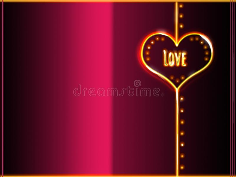 Couvrez le backgroud de carte de voeux, rose et noir de jaune au néon h illustration de vecteur