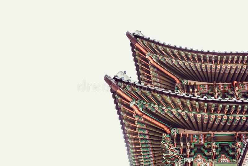 Couvrez le dessus de la voie de base au palais de Gyeongbokgung - Séoul, Corée du Sud photo libre de droits