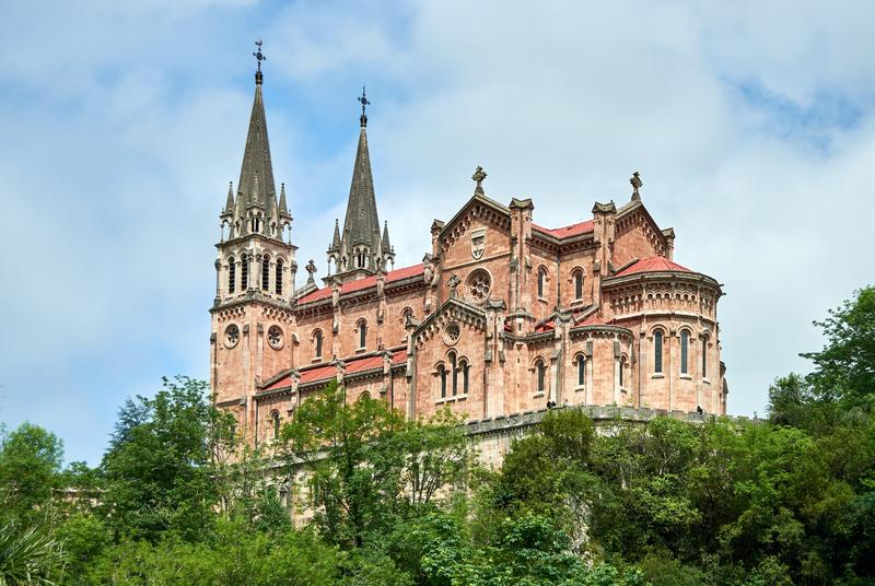 Covadonga catholic Sanctuary, in Asturias, North of Spain stock photography