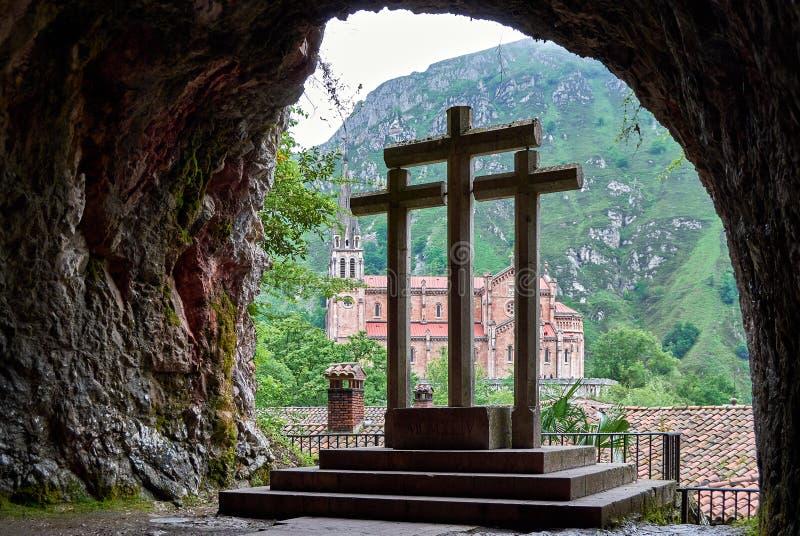 Covadonga catholic Sanctuary, Asturias, North of Spain stock images