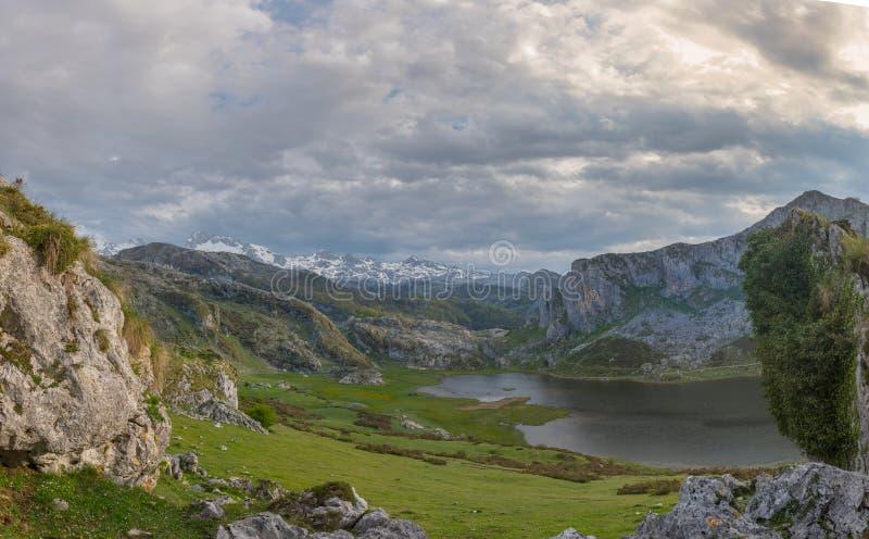 Covadonga Lakes in Picos de Europa National Park, Asturias, Spain. Covadonga Lakes in Picos de Europa National Park, Asturias, Spain royalty free stock photos