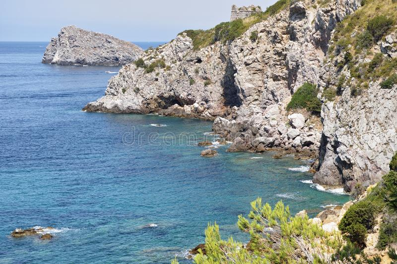 Cove of the chalk. Stretch of coast on the promontory of Argentario, Tuscany, Italy stock image