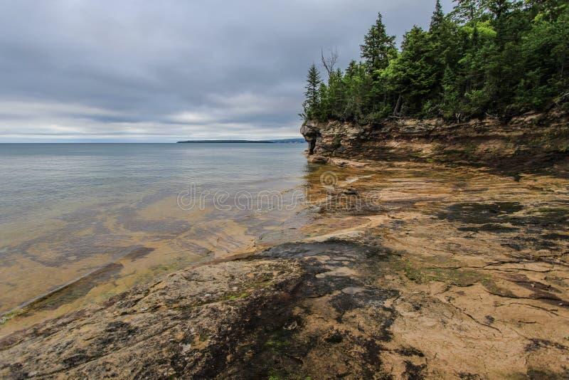 Cove On The Coast Of Lake Superior In Michigan. Cliff on the shores of Lake Superior in Michigan's Upper Peninsula stock photo