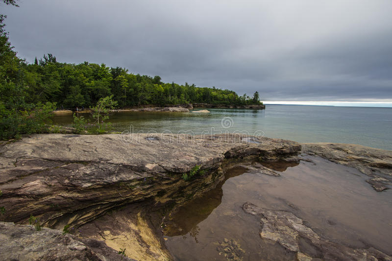 Cove On The Coast Of Lake Superior In Michigan. Cliff on the shores of Lake Superior in Michigan's Upper Peninsula royalty free stock photography