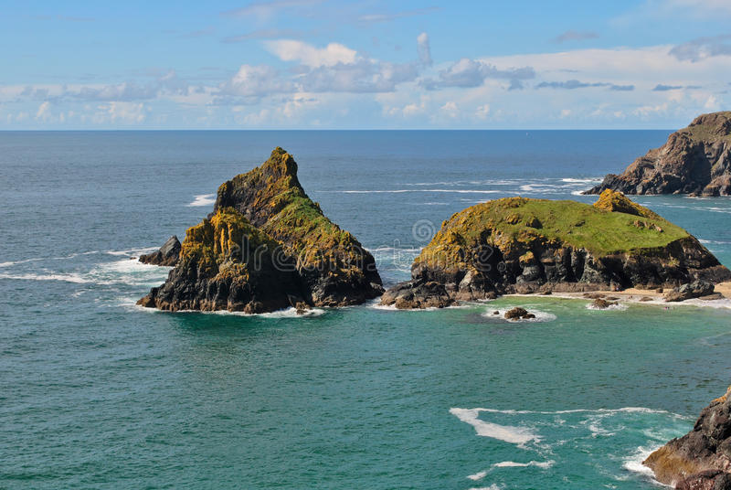 Download Cove in cornwall stock image. Image of view, green, horizon - 24863711