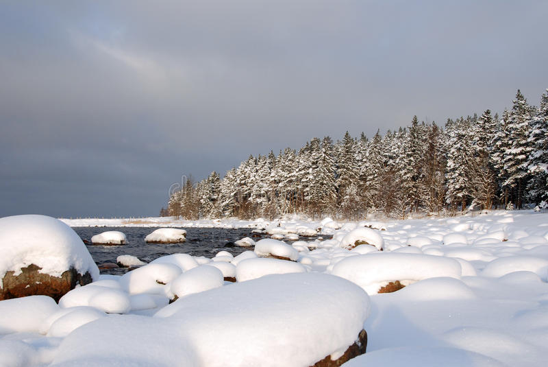 Cove in winter. Small cove in winter in northern Estonia royalty free stock photography