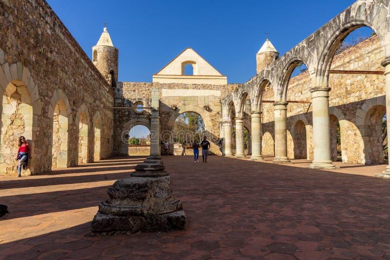 covent Cuilapam老的墙壁,墨西哥 库存图片