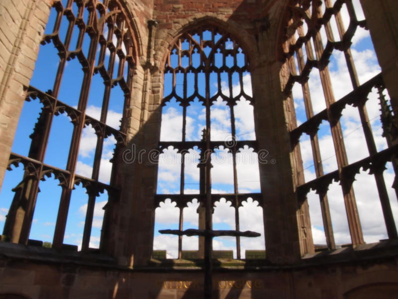 Coventry Cathedral. The cross of nails in the ruins of Coventry Cathedral, symbol of reconciliation after WW2 royalty free stock photography