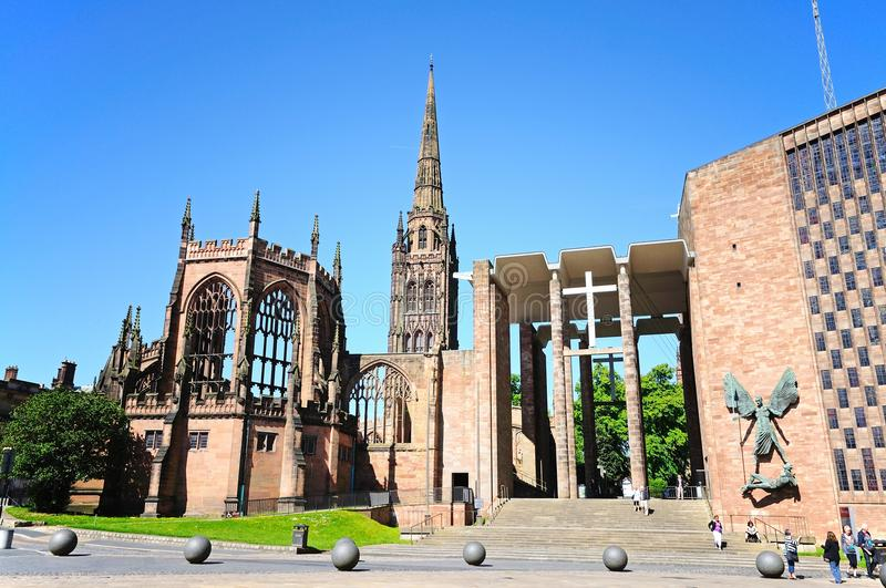 Coventry Cathedral. View of the old and new Cathedrals, Coventry, West Midlands, England, UK, Western Europe royalty free stock photography