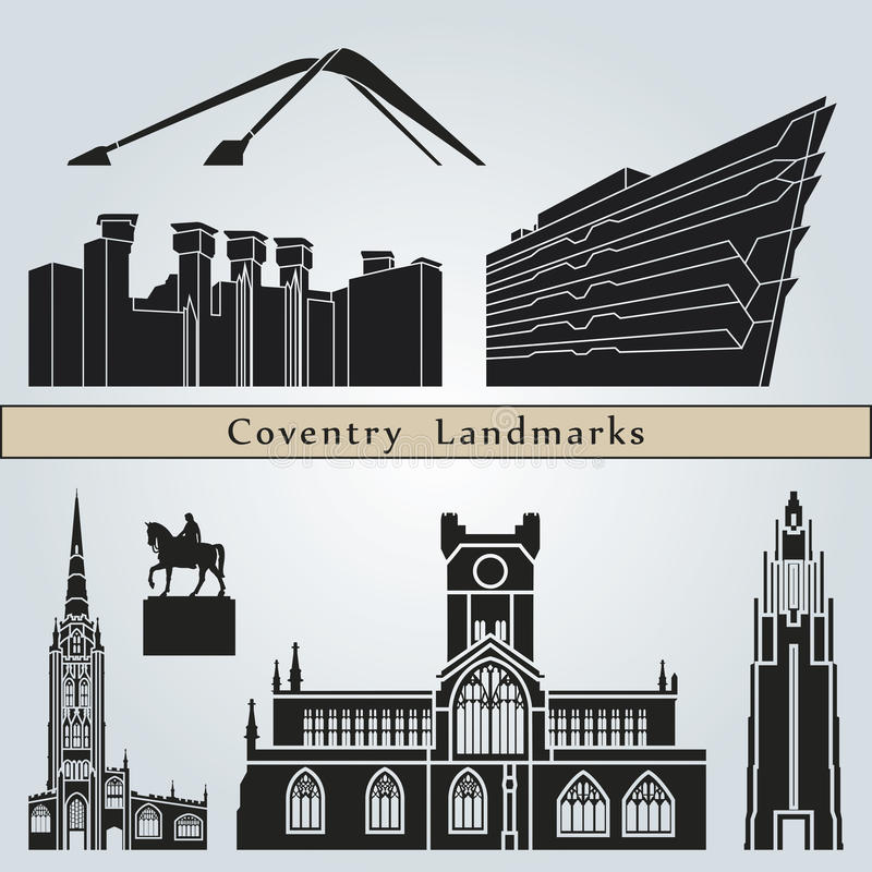 Coventry landmarks and monuments vector illustration