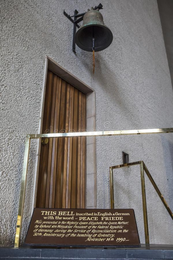 Bell at Coventry Cathedral stock images