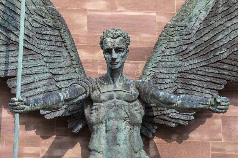 Sculpture of St. Michael at Coventry Cathedral royalty free stock photography
