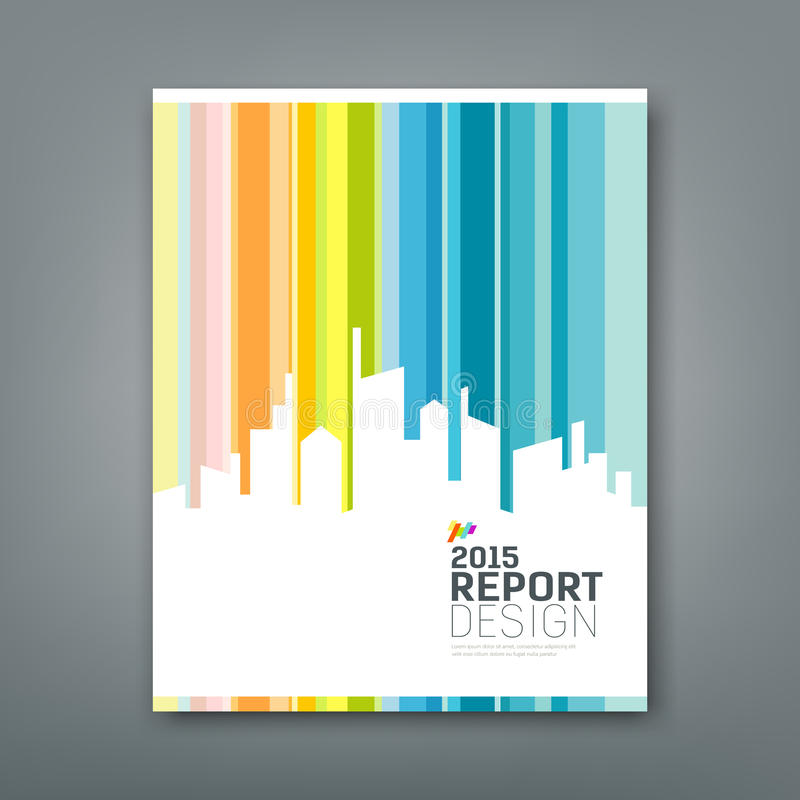 Cover Annual report silhouette building. Colorful background design, illustration royalty free illustration