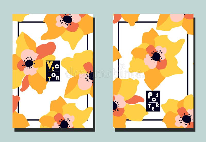 Cover with beautiful yelow pink flowers on white backdrop. Two floral vector templates of flyers. A4 format. Art can be used for placard, flyer, banner vector illustration