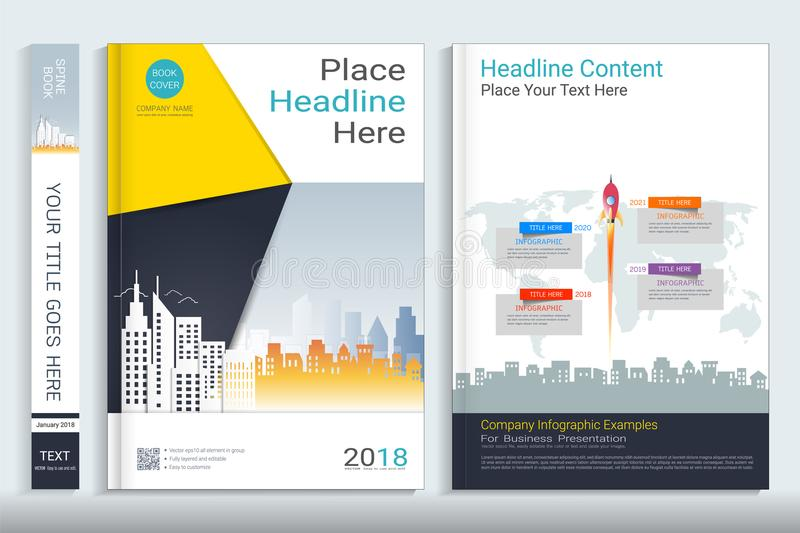 Cover book design template with presentation infographics elements. stock illustration