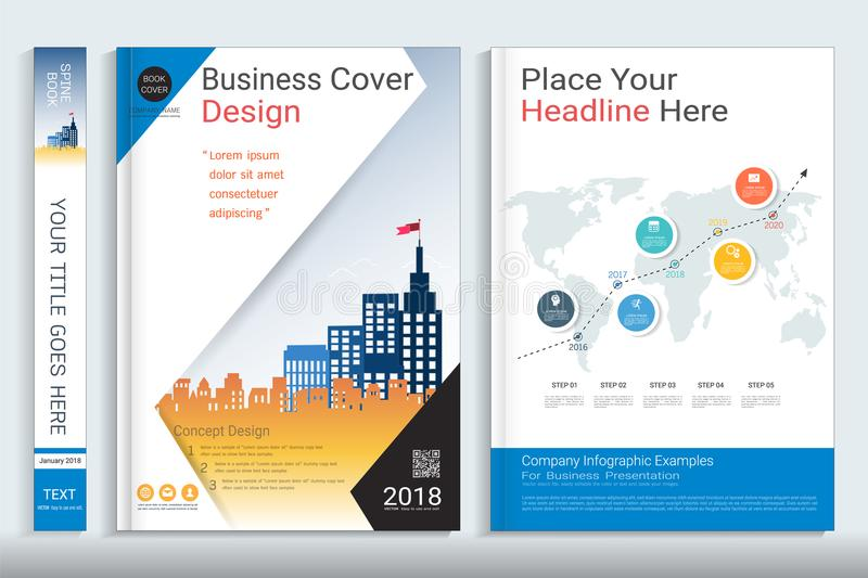 Cover book design template with presentation infographics elements. royalty free illustration