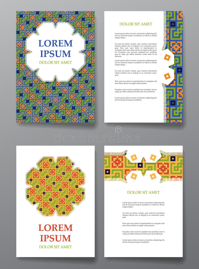 Cover brochure design. Arabic traditional decorative elements. Cover brochure design. Arabic traditional decorative seamless patterns. Vector illustration vector illustration