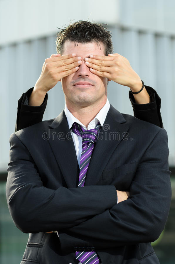 Cover business man eyes stock photo