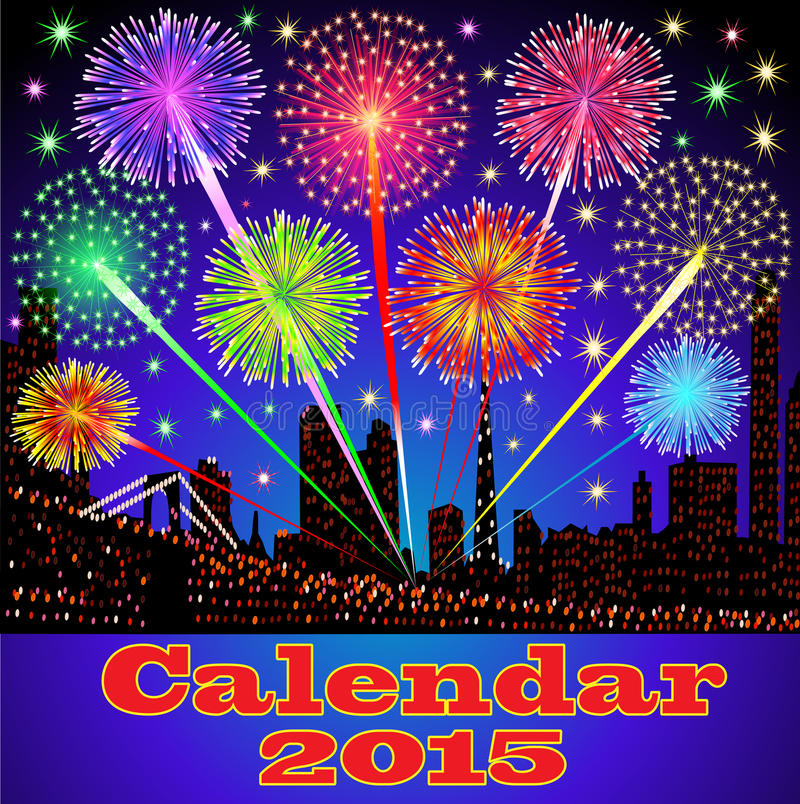 Cover of calendar with fireworks night city royalty free illustration