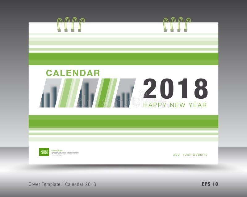 Cover Calendar 2018 Template Green Business Flyer Design Stock