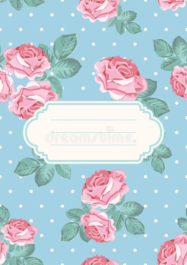 Cover or card template. Shabby chic rose seamless pattern on blue polka dot background. Also can use for placards vector illustration