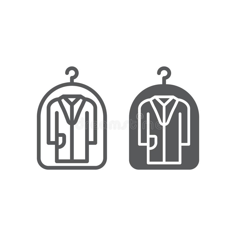 Cover for clothes line and glyph icon, laundry and protection, dry cleaning sign, vector graphics, a linear pattern stock illustration