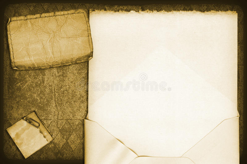 Cover Collage. Cover of a vintage book with a vintage envelope royalty free stock photography