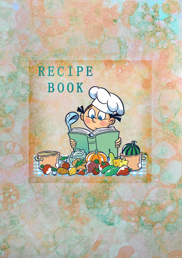 Cover for a cookbook with a cute cartoon. The illustration shows the cover for a cookbook, a collection of recipes with a cute cartoon chef and products, on an stock illustration