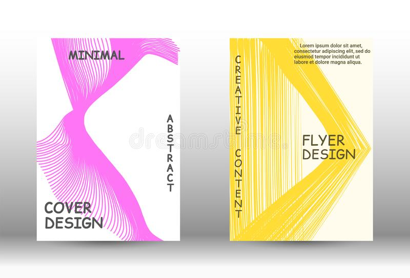 Trendy geometric patterns. Cover design. Abstract cover with the effect of movement and distortion. Trendy geometric patterns. EPS10 Vector Design stock illustration
