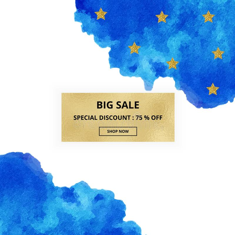 Cover design banner sale hand drawn blue watercolor texture on the white background with gold stars. Vector ink, acrylic decoratio stock illustration