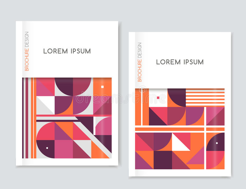 Cover design for Brochure leaflet flyer. Abstract geometric background. Pink, orange,white, gray triangle, squares and circles. vector illustration