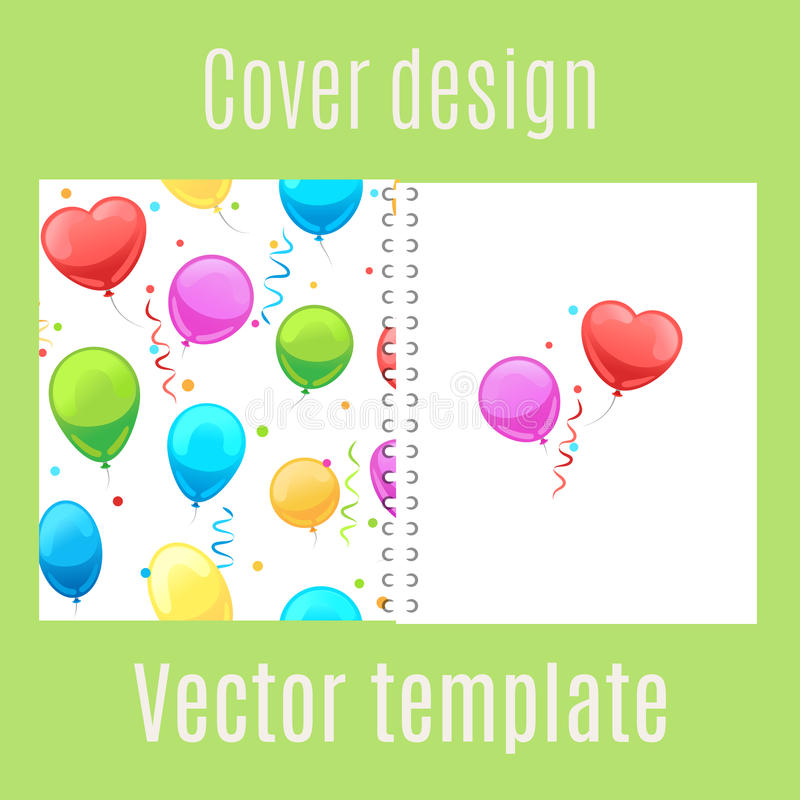Cover design with cartoon balloons pattern stock illustration