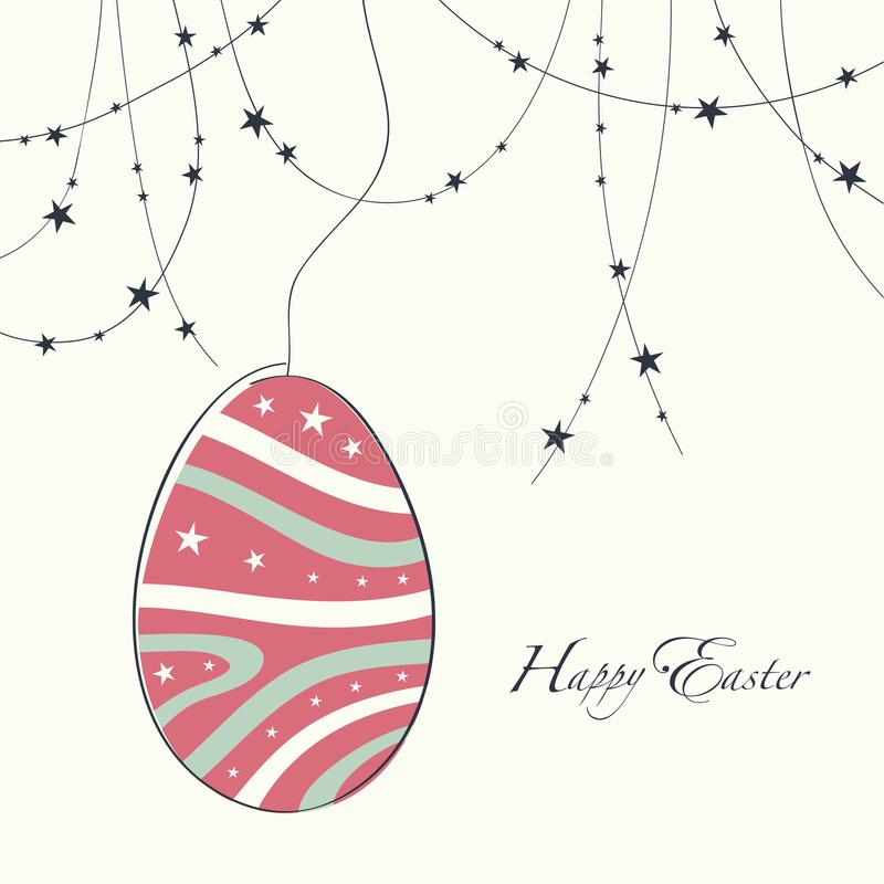 Cover design greeting cards for happy easter stock vector cover design day cards happy easter depicts a garland of stars a large decorative egg with a line and stars pattern consisting of two colors pink and m4hsunfo