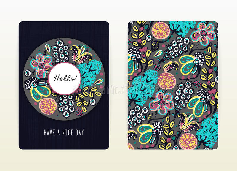 Cover design with floral pattern. Hand drawn creative flowers. Colorful artistic background with blossom stock illustration