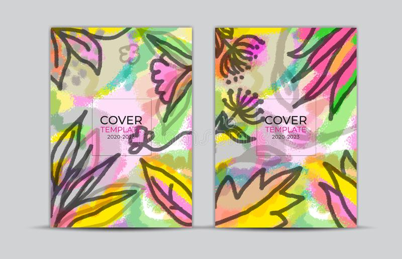 Cover design, flower and leaves painting background, labels and badges, card, web banner, Book cover, poster template. Trendy texture, abstract vector vector illustration