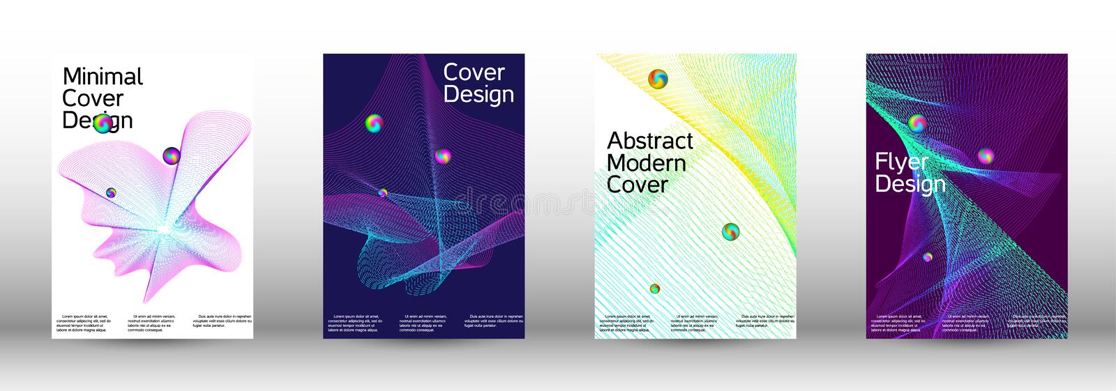 Cover design. Minimum coverage of a vector. Cover design. A set of modern abstract covers. Minimal vector cover design with abstract lines stock illustration