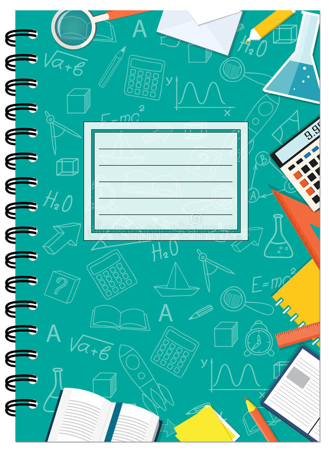 Free School Notebook Cover Vector ~ A cover design school notebook with stationery stock